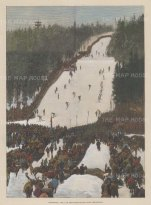 """Illustrated London News: Skiing. 1884. A hand coloured original antique wood engraving. 9"""" x 14"""". [SPORTSp3617]"""
