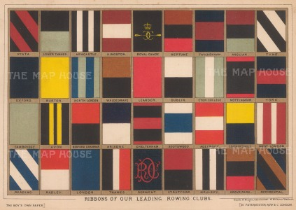 Ribbons of the Leading Rowing Clubs: Thirty six ribbons including Oxford and Cambridge.