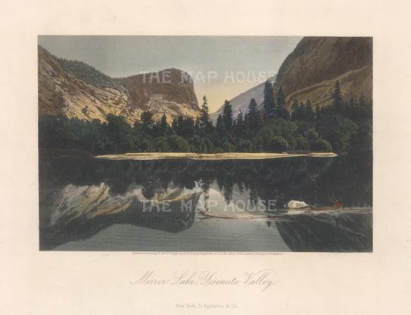 "Picturesque America: Yosemite Valley, California. 1874. A hand coloured original antique steel engraving. 8"" x 5"". [USAp4986]"