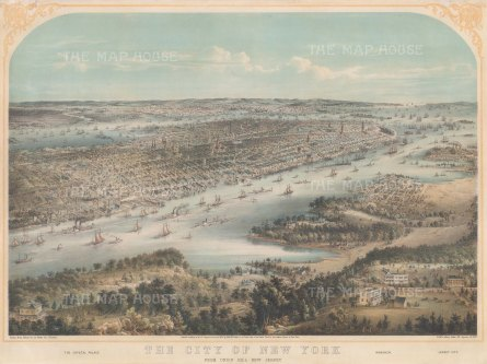 Panoramic view of New York from Uinion Hill (Union City): With Crystal Palace and Jersey City in the foreground. After the local artist John Bornet.