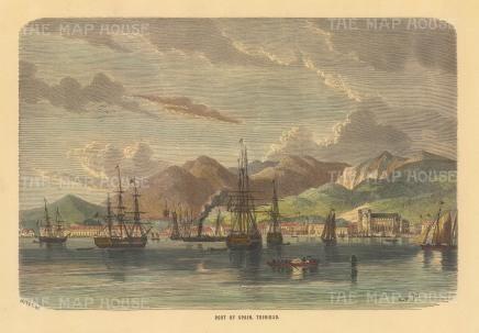 "Collins: Port of Spain, Trinidad. c1870. A hand coloured original antique wood engraving. 9"" x 6"". [WINDp1248]"