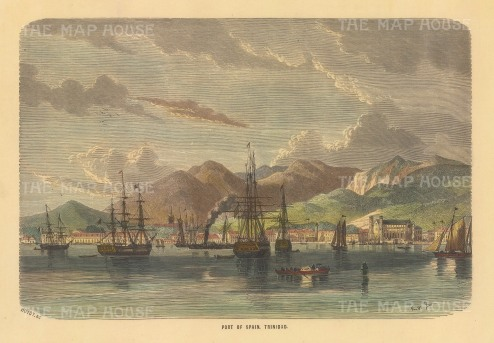 "Collins: Port of Spain, Trinidad. c1870. A hand coloured original antique wood engraving. 9"" x 6"". [WINDp1248]"