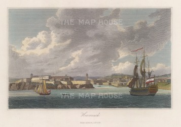 "Jackson: Havannah, Cuba. c1834. A hand coloured original antique steel engraving. 9"" x 5"". [WINDp1250]"