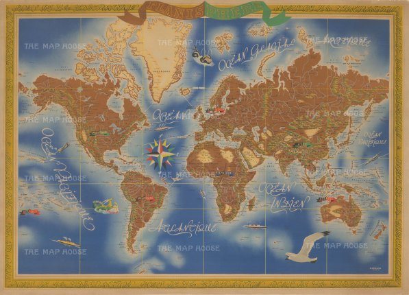 "Merigeau: Planisphere. 1945. An original vintage chromolithograph. 43"" x 31"". [WLD4237]"
