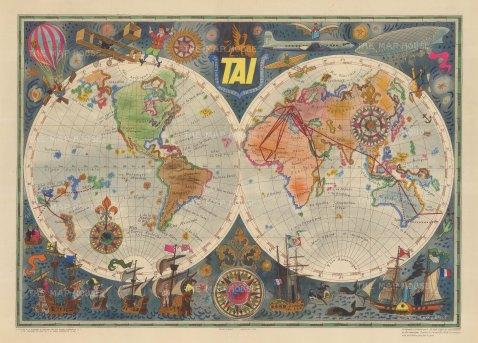 "Bayle: Transports Aeriens Intercontinentaux. c1958. An original vintage chromolithograph. 29"" x 20"". [WLD4249]"