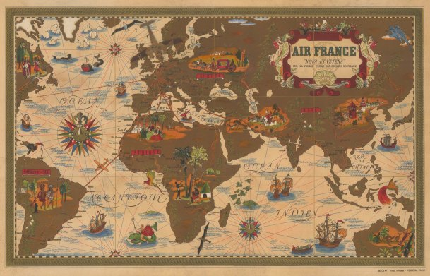 "Air France: Nova et Vetera. c1950. An original vintage chromolithograph. 24"" x 15"". [WLD4315]"