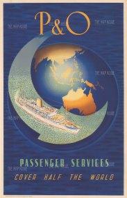 "Birch: P & O Cruises. c1955. An original vintage chromolithograph. 25"" x 40"". [POSTERp310]WLD4391w"