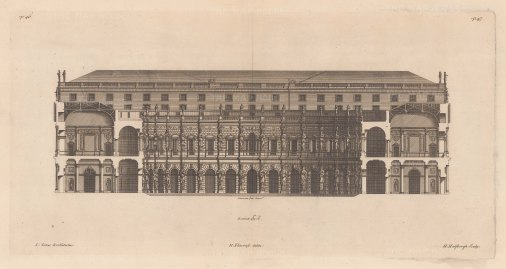 Architectural Elevatio: Corps de Logis with Carytides and Atlantes, by Inigo Jones.