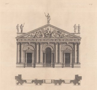 """Campbell: Facade. c1720. An original antique copper engraving. 16"""" x 14"""". [ARCHp759]"""