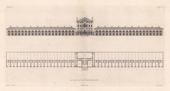 "Cole: Architectural Elevation. c1720. An original antique copper engraving. 22"" x 12"". [ARCHp902]"