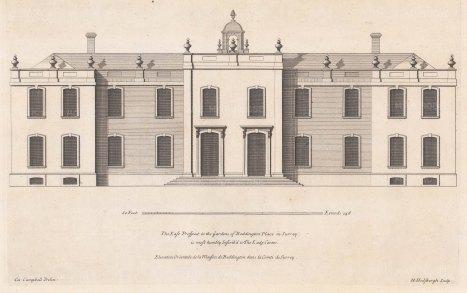"""Cole: Carew Manor, Sutton. c1720. An original antique copper engraving. 22"""" x 12"""". [ARCHp904]"""