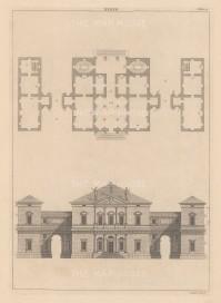 "Harris: Architectural Elevation. c1770. An original antique copper engraving. 9"" x 13"". [ARCHp923]"