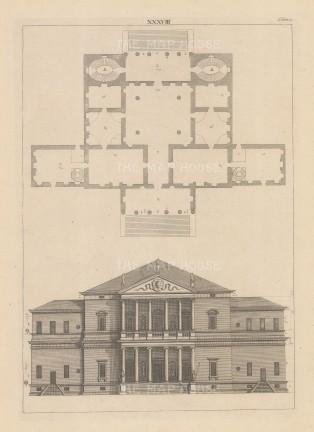 "Harris: Architectural Elevation. c1770. An original antique copper engraving. 9"" x 13"". [ARCHp924]"