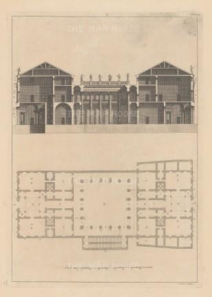 "Harris: Architectural Elevation. c1770. An original antique copper engraving. 9"" x 13"". [ARCHp925]"