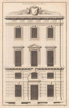 """de Neufforge: Facade. 1775. An original antique copper engraving. 9"""" x 14"""". [ARCHp927]"""