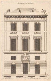 """de Neufforge: Facade. 1775. An original antique copper engraving. 9"""" x 14"""". [ARCHp933]"""