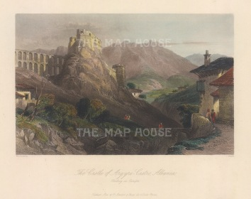 "Bartlett: Castle of Argyro Castro (Gjirokaster Fortress), Albania. 1838. A hand coloured original antique steel engraving. 7"" x 5"". [CEUp551]"