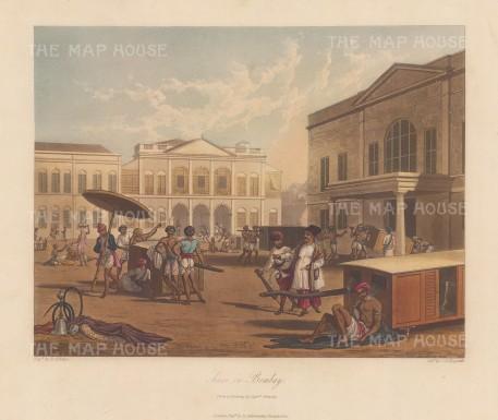"""Grindlay: Mumbai. 1826. An original colour antique aquatint. 13"""" x 9"""". [INDp1481]"""