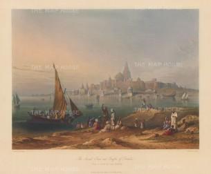 Gujarat: Dwarka (Dvaravati). View over the harbour towards the Jagat Mandir (Dwarkadhish temple).
