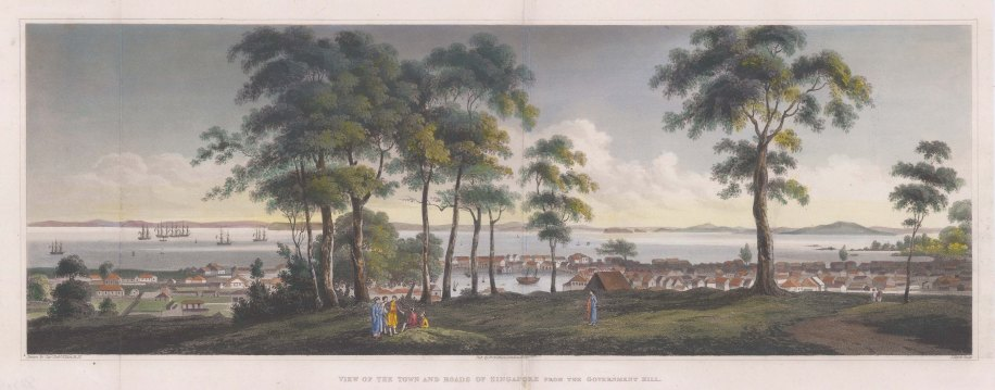 Rare and important early panoramic view of Singapore from Government Hill (Fort Canning) towards the straits. After Capt Robert Elliot RN.