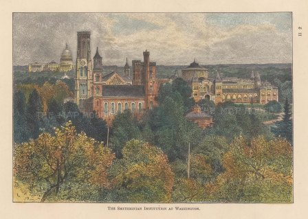 Smithsonian Institution: View with the capitol in the distance.