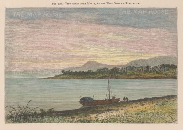 "Reclus. Lake Tanganyika, Tanzania. 1894, A hand coloured original antique wood engraving. 7"" x 5"". [AFRp1419]"