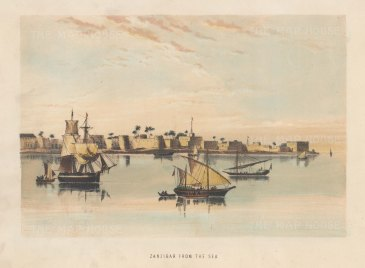 "Anonymous: Zanzibar. c1880. A hand coloured original antique lithograph. 9"" x 7"". [AFRp1435]"