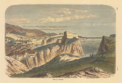 Ragusa (Dbrovnik): Panoramic view over the city and fortress.