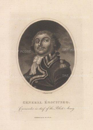 "Wilkes: General Koschiusko. 1826. An original antique stipple engraving. 7"" x 5"". [CEUp552]"