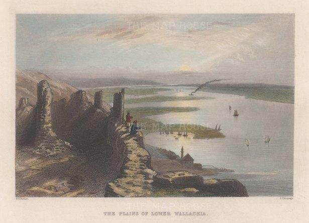 Wallachia: Bird's eye view over the lower Danube.