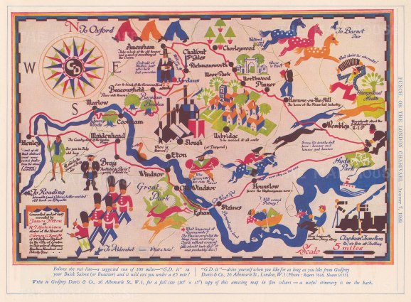 Humourous road map from Henley to Amersham to Wembley, and from Henley to Egham to Hyde Park. After James Fitton and H.J Hutchinson.