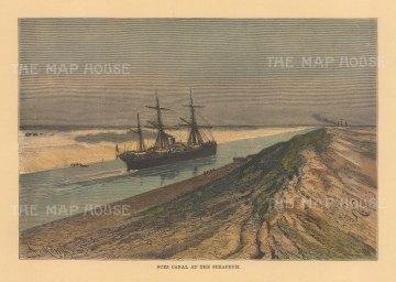 """Reclus: Serapium, Suez. 1894. A hand coloured original antique wood engraving. 8"""" x 6"""". [EGYp1164]"""