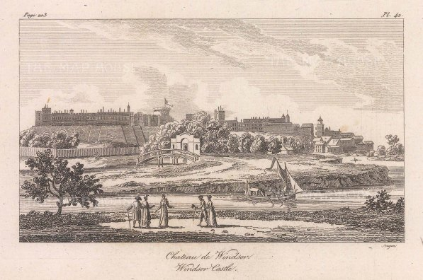 "Baugean: Windsor Castle. 1814. An original antique copper engraving. 6"" x 4"". [ENGp343]"