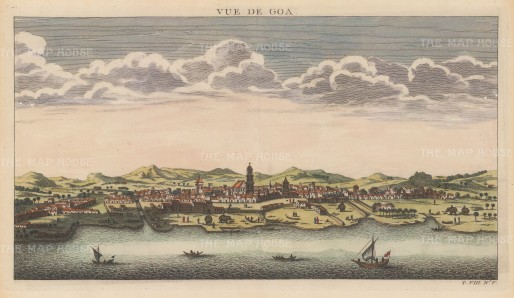 Panoramic view from the Arabian Sea. Goa was founded during the 15th Century by the Bijapur Sultanate; it was captured by the Portuguese in 1510 and became capital of their Indian Empire.