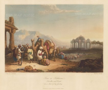 Saurashtra: Kathiawar. Camel escort and caravan of pilgrims with a temple in the distance.