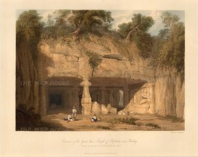 Elephanta Island (Gharapuri) in Mumbai Harbour: View of the open portico entrance to the Great Cave dedicated to the Lord Shiva. After William Westall RA.