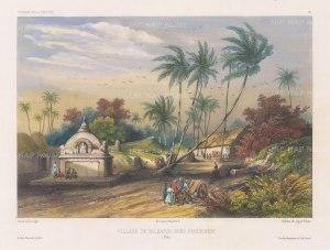 Pondicherry: View of the village of Valdaour near to Pondicherry. After Barthélemy Lauvergne, artist on the voyage of La Bonite 1836-7.
