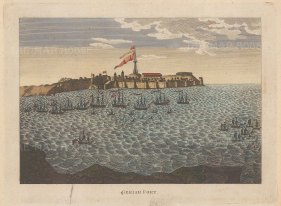 Geriah Fort: Base of the Maratha pirate Tulagee Angria under attack by an Indo-Portuguese naval force commanded by British Admirals Pocock and Watson.