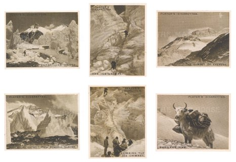 Images from the ill-fated expedition of Mallory and Irvine. Six cards including a baggage yak.