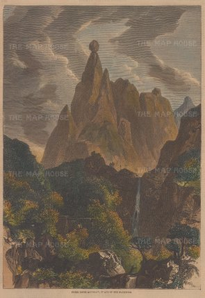 """Illustrated Times: Mauritius. 1860. An hand coloured original antique wood engraving. 5"""" x 8"""". [INDp1381]"""