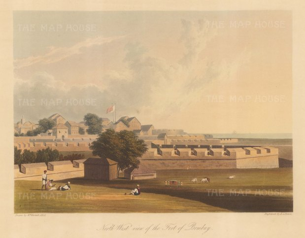 Fort George: North West view of the fort built by the East India company around the Castle of Bombay (Casa da Orta). After William Westall RA.