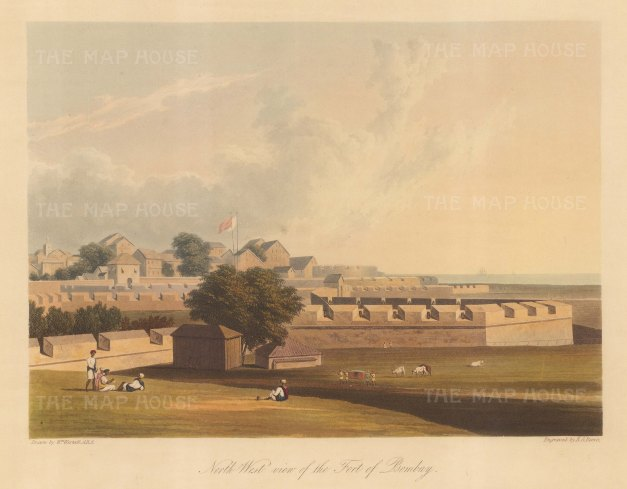 Fort George (Mumbai): North West view of the fort built by the East India company around the Castle of Bombay (Casa da Orta). After William Westall RA.