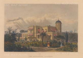"Allom: Lucknow. c1840. A hand coloured original antique steel engraving. 8"" x 6"". [INDp1395]"