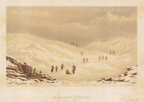 Our Camp Ascending the Snowfields: Junno Mountain: View from below Soubabgoom. After the first Western artist to depict the Eastern Himalayas during a perilous 600 mile journey.