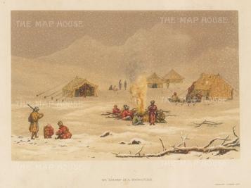 "Mazuchelli: Encampment in the Himalayas. 1876. An original antique chromolithograph. 8"" x 6"". [INDp1462]"