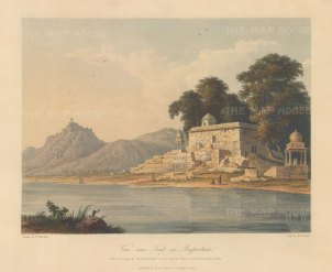 Raputana (Ragasthan): View on Banas River near Tonk. After the 'on the spot' drawing of Capt. Charles Auber.
