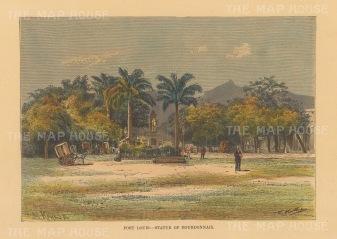 Reunion: Port Louis. Statue of Francoise Mahe de la Bourdonnais
