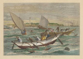 """Illustrated London News: Galle. 1872. A hand coloured original antique wood engraving. 13"""" x 9"""". [INDp1490]"""