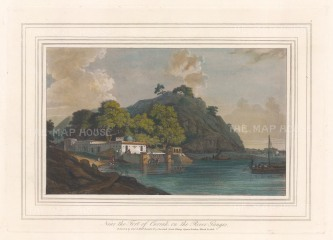 Fort of Currah: View of the Hindu shrine with steps leading down to the river Ganges.