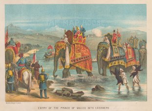 Kashmir: Entry of the Prince of Wales and his entourage on elephants.